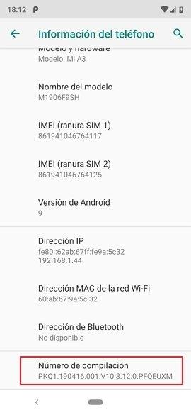 Información del teléfono en Android