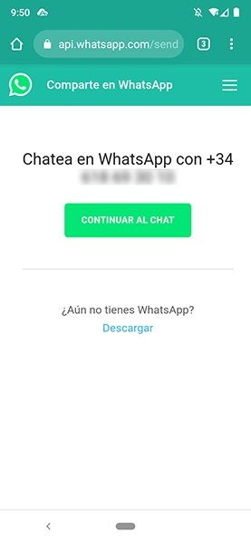 Iniciar chat en WhatsApp con número desconocido