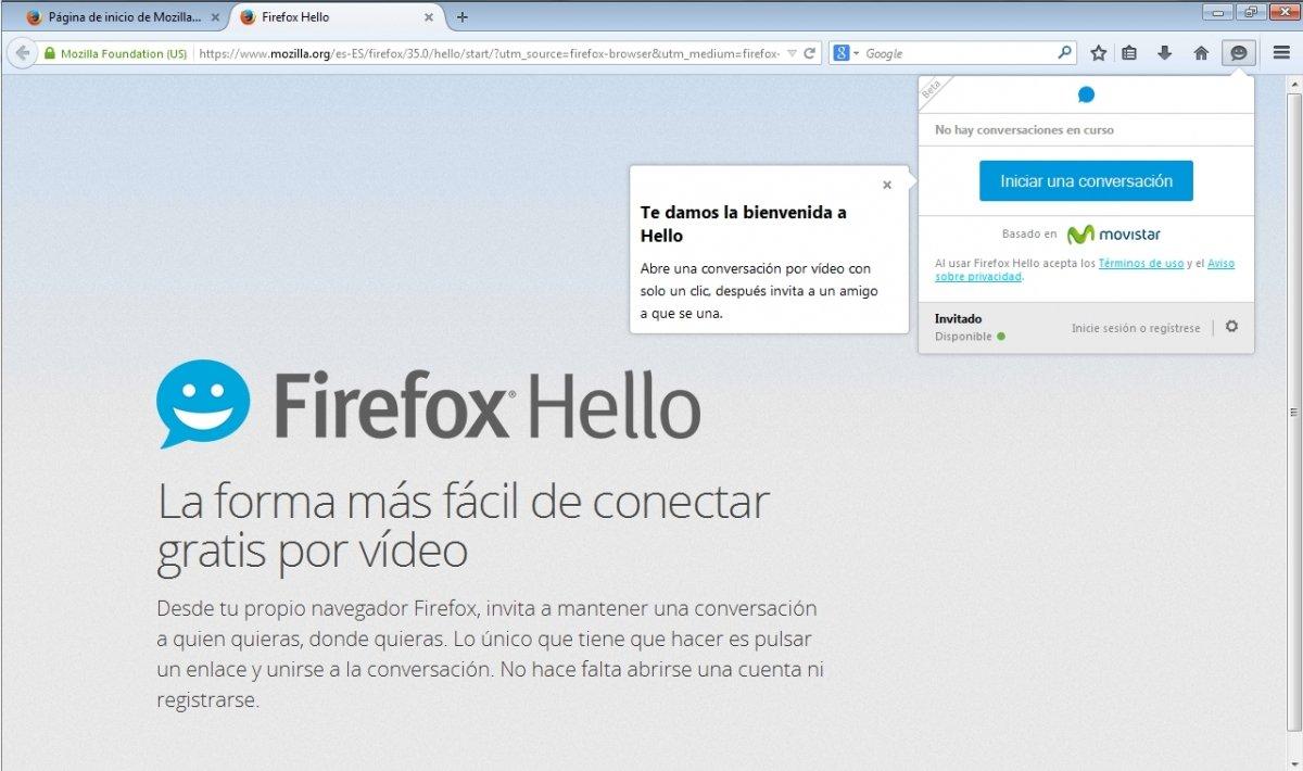 Iniciar conversación con Firefox Hello