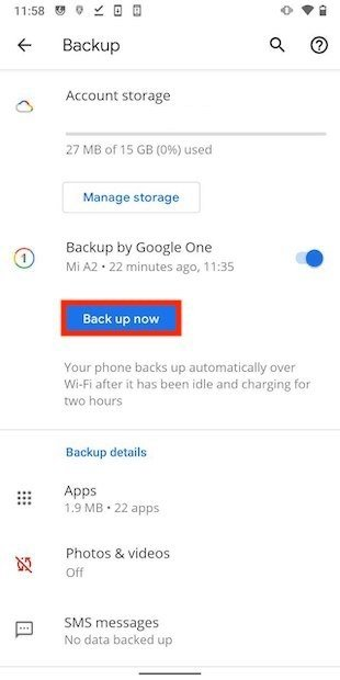Iniciar copia de seguridad en Android
