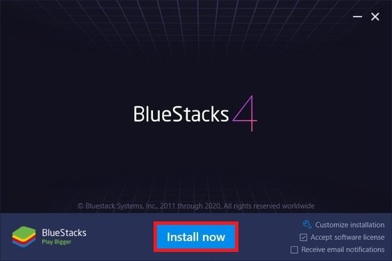 Iniciar instalación de BlueStacks