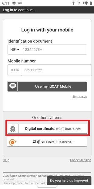 Iniciar sesión con certificado digital