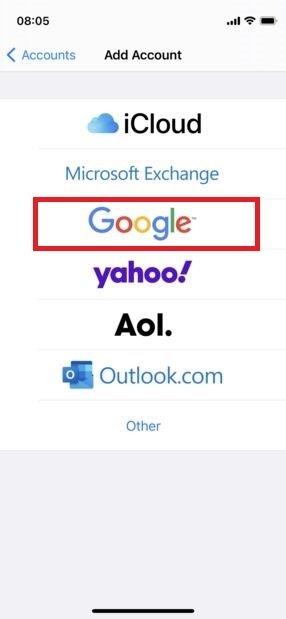 Iniciar sesión en Google en el iPhone