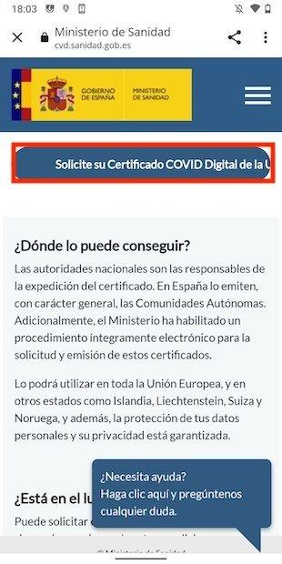 Iniciar solicitud del pasaporte COVID