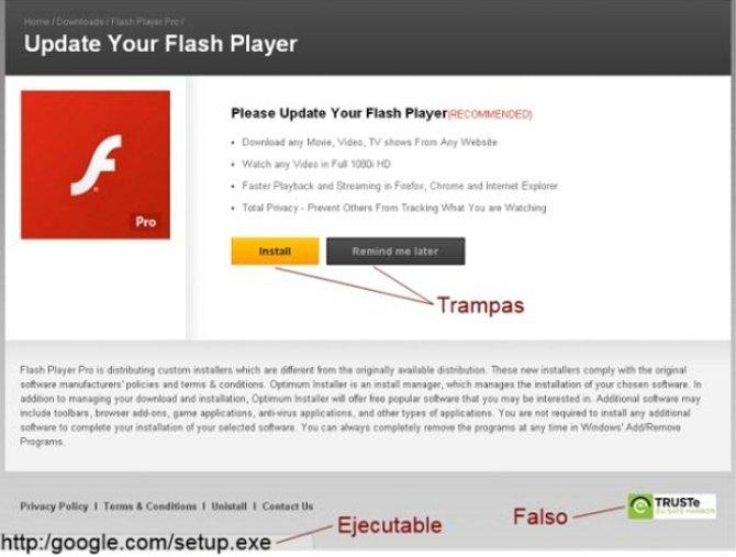 Instalacion falsa de Adobe Flash Player Pro