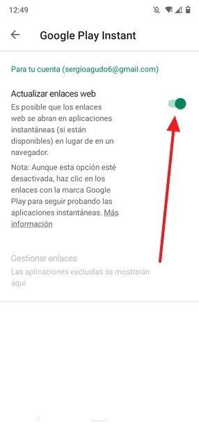 Instant Apps activadas
