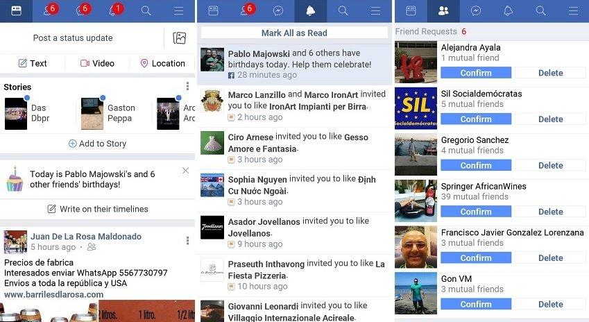 Interfaz algo más austera de Facebook Lite