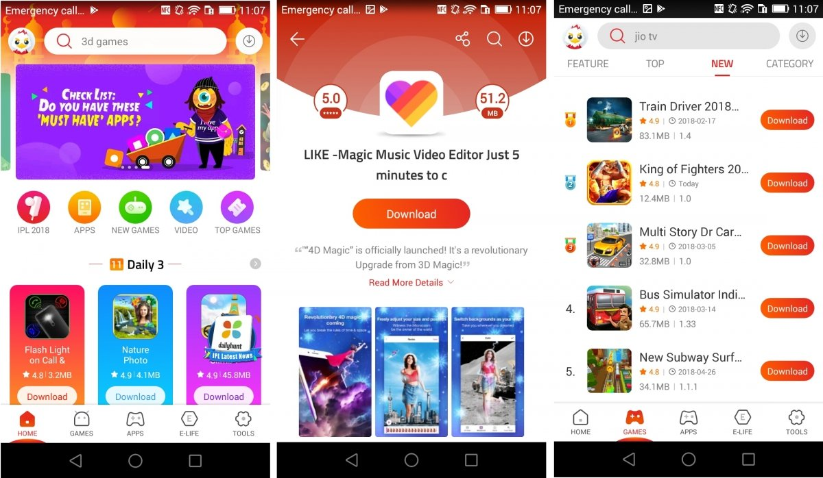 Interfaz de 9apps para Android