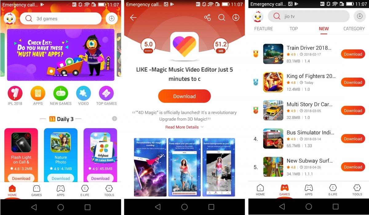 Interfaz de 9apps para Android