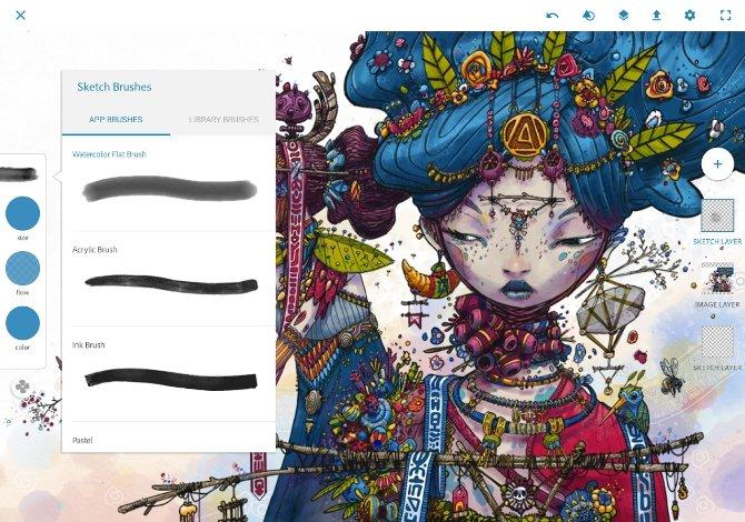 Interfaz de Adobe Photoshop Sketch