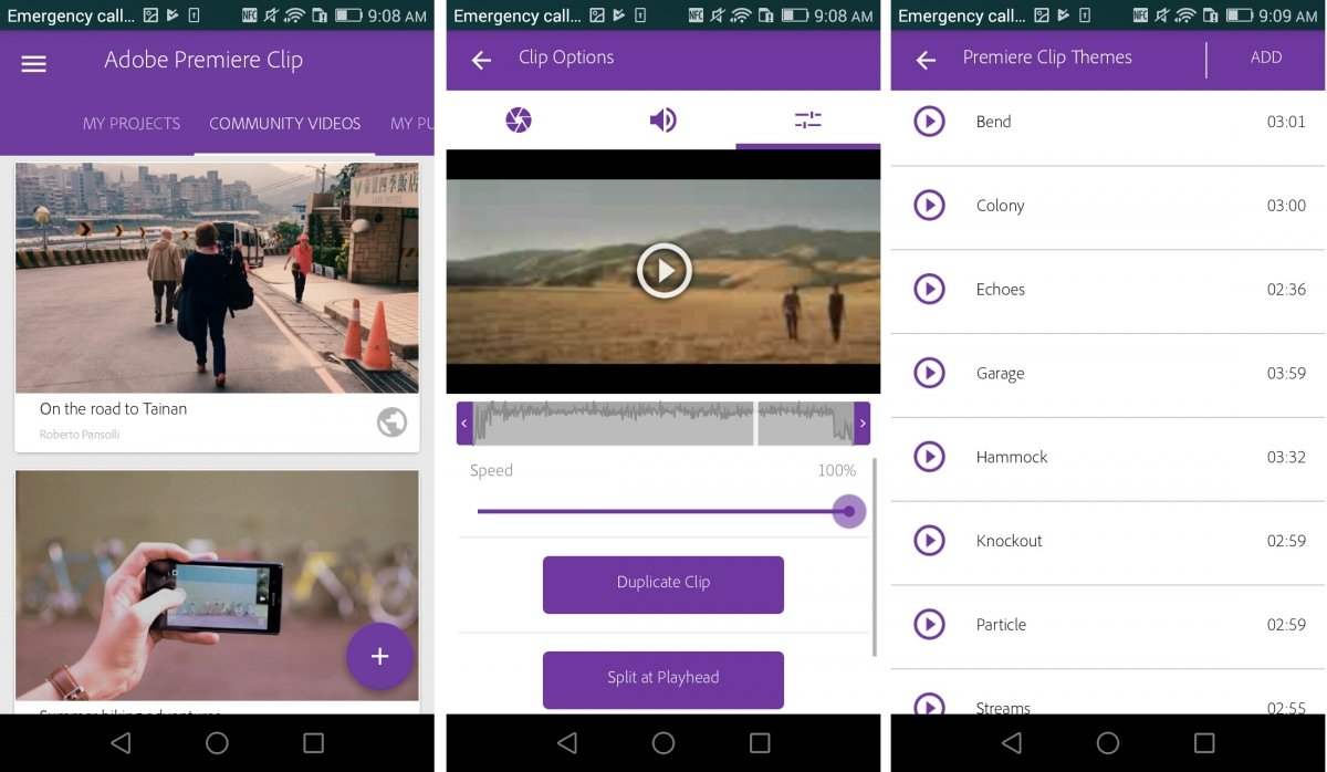 Interfaz de Adobe Premiere Clip para Android
