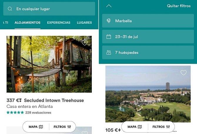 Interfaz de Airbnb, para alquilar apartamentos y casas particulares