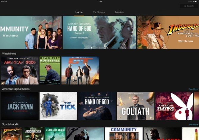 Interfaz de Amazon Prime Video en iOS