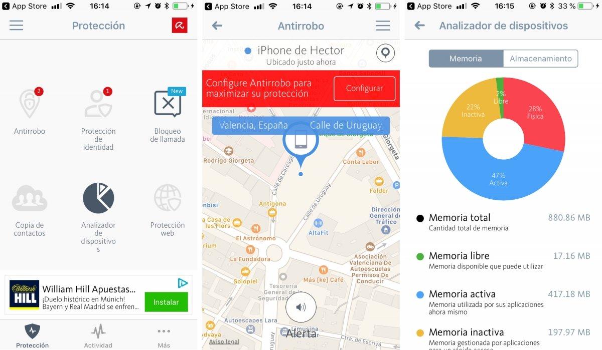 Interfaz de Avira Mobile Security para iOS