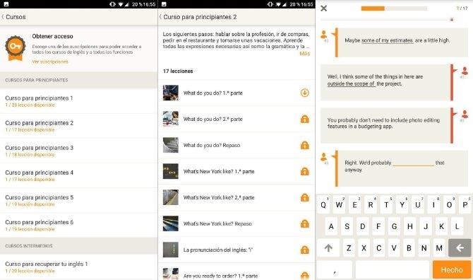 Interfaz de Babbel en Android
