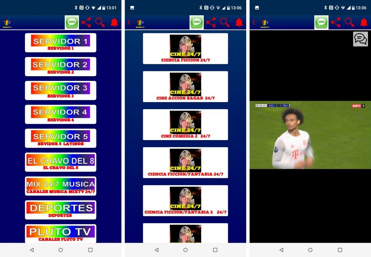 Interfaz de Banda TV y una emisión de fútbol