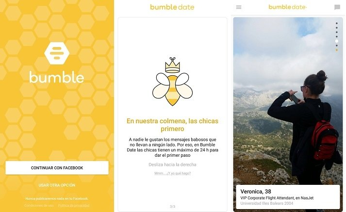 Interfaz de Bumble para Android