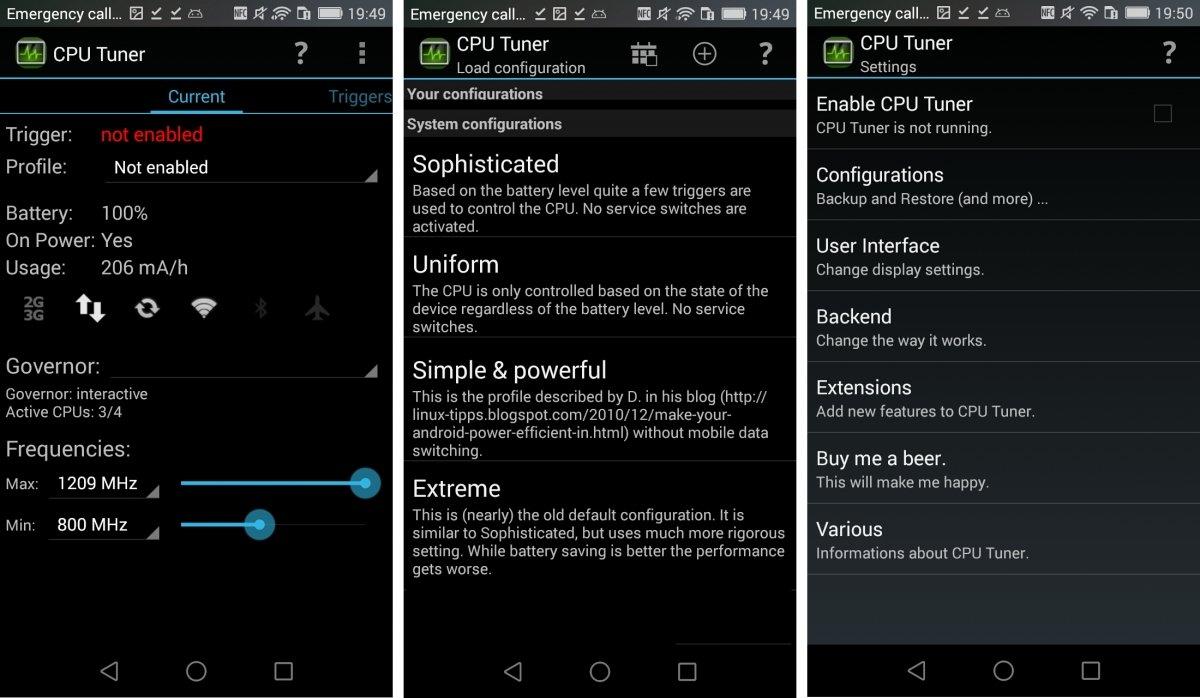 Interfaz de CPU Tuner para Android