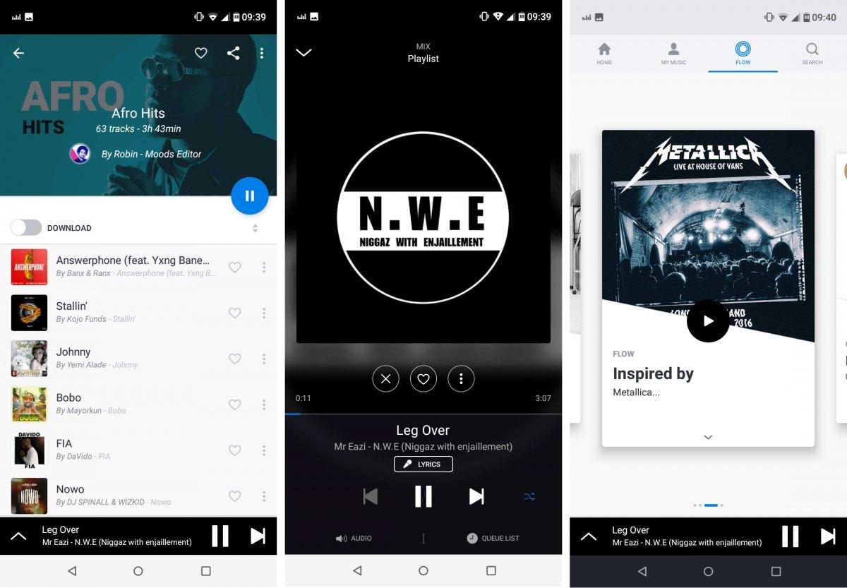 Interfaz de Deezer para Android