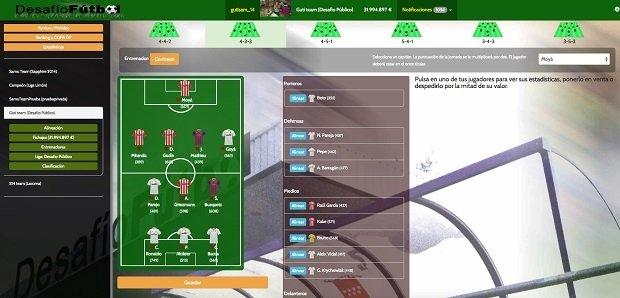 Interfaz de Desafío Fútbol