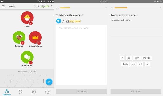 Interfaz de Duolingo en Android