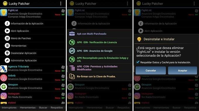 Interfaz de Fight List con sus diferentes opciones para eliminar anuncios