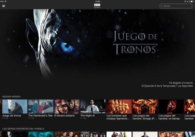 Interfaz de HBO España en un iPad
