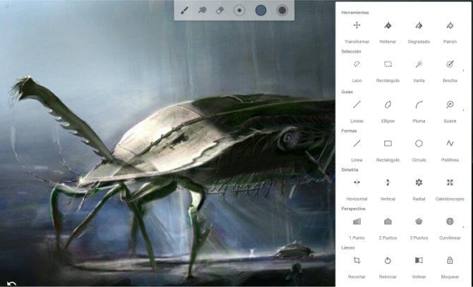 Interfaz de Infinite Painter