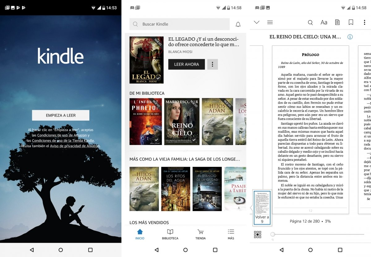 Interfaz de Kindle con un libro gratuito
