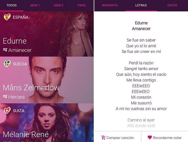 Interfaz de la aplicación Eurovision Song Contest