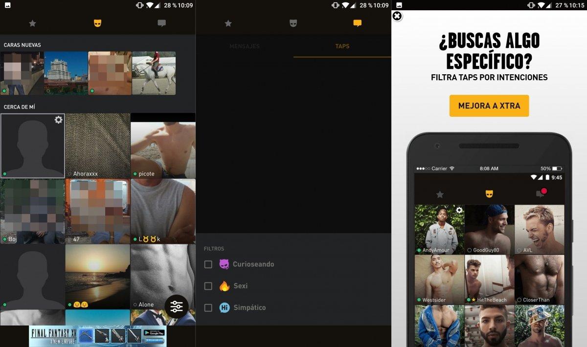 Interfaz de la app Grindr