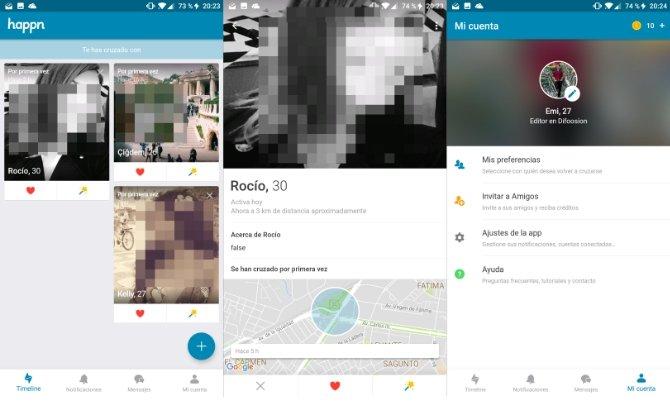 Interfaz de la app Happn
