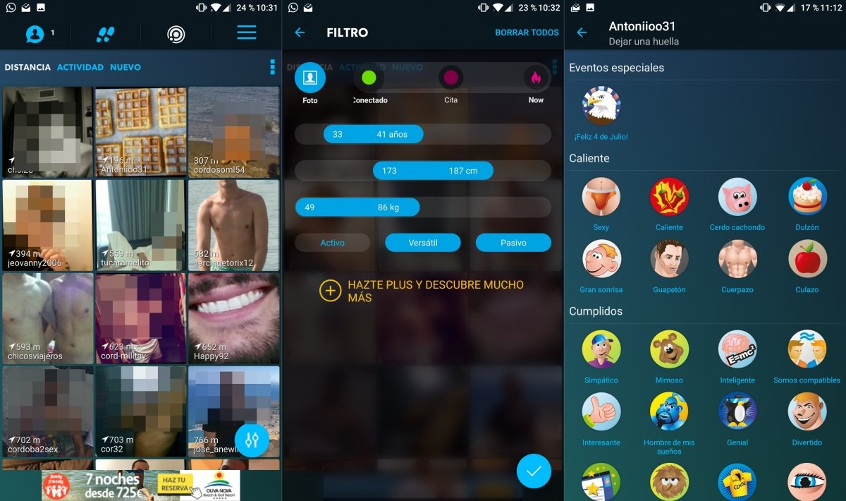 Interfaz de la app Romeo