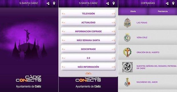 Interfaz de la app Semana Santa de Cádiz