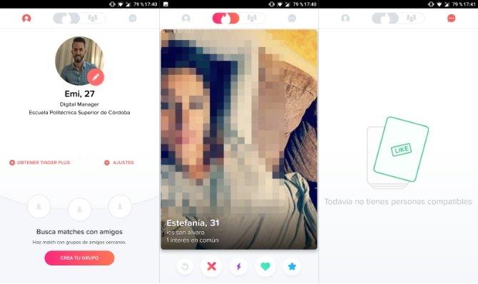 Interfaz de la app Tinder
