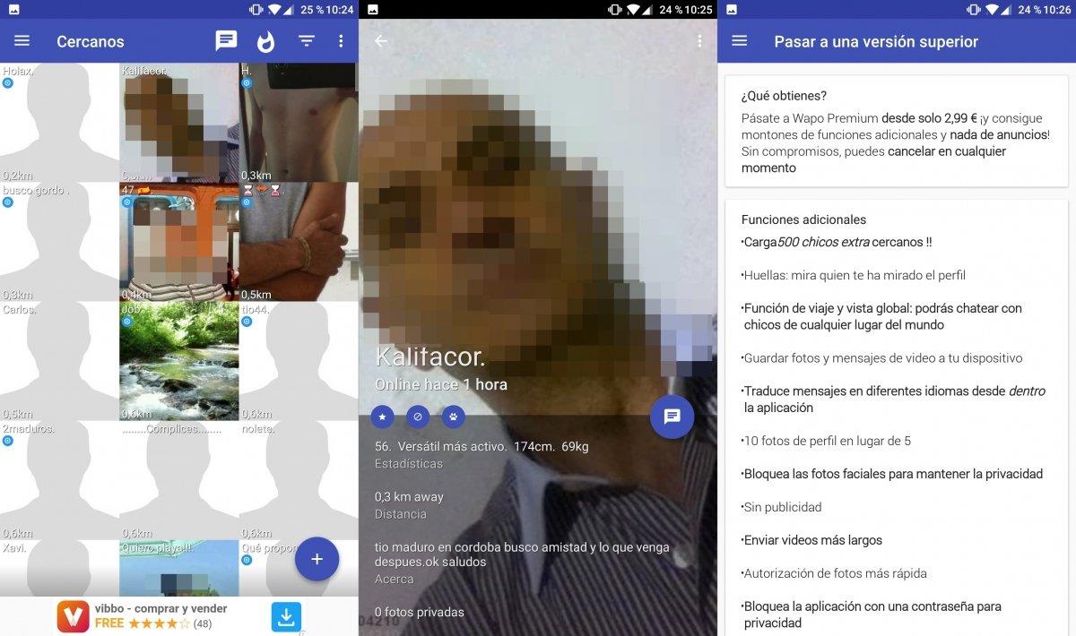 Interfaz de la app Wapo