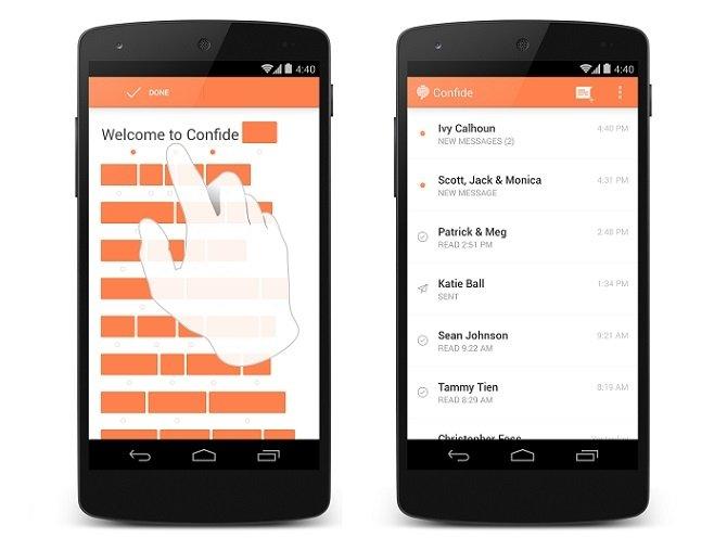 Interfaz de la versión Android de Confide