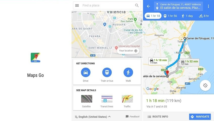 Interfaz de la versión reducida de Google Maps