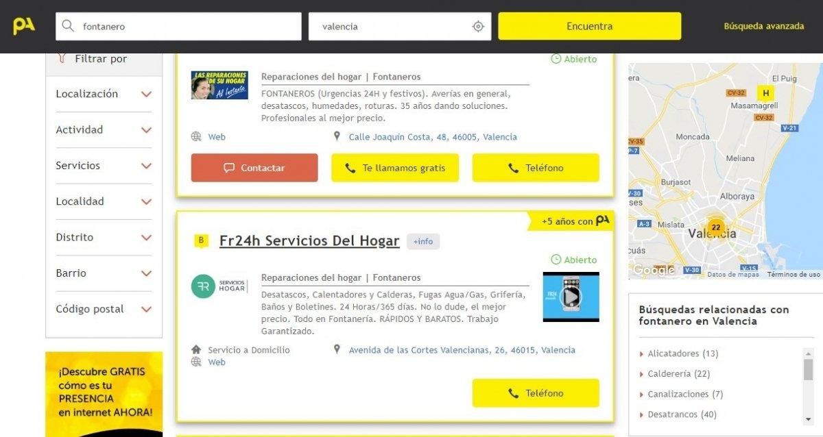 Interfaz de la web de Páginas Amarillas
