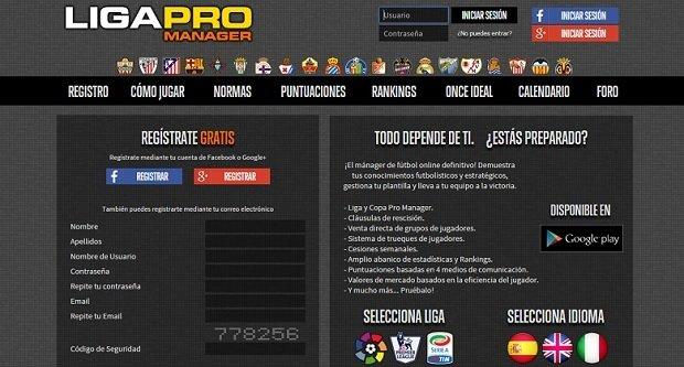 Interfaz de Liga Pro Manager