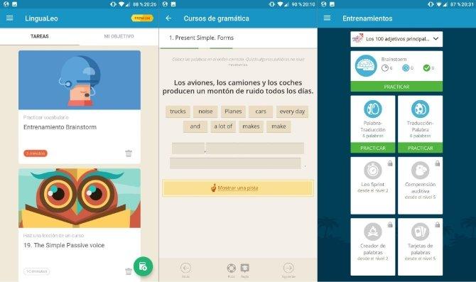 Interfaz de LinguaLeo en Android