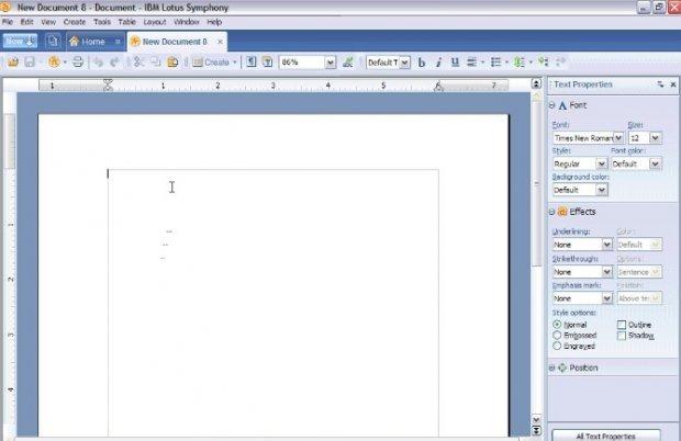Interfaz de Lotus Symphony, el fork de OpenOffice de IBM