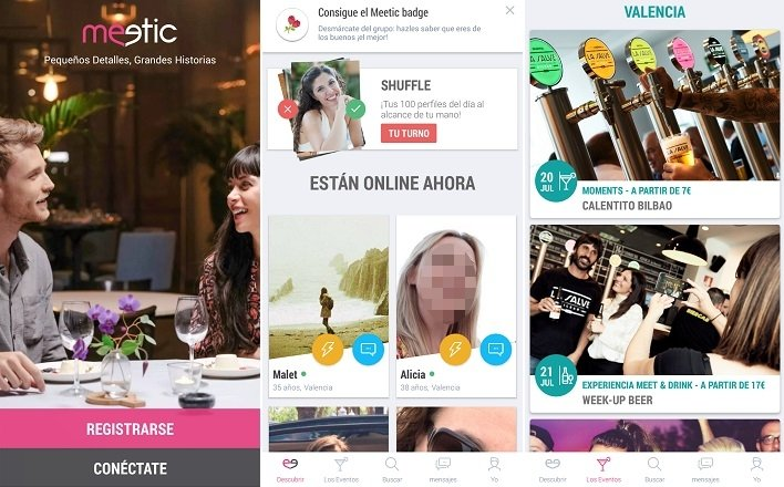 Interfaz de Meetic para Android