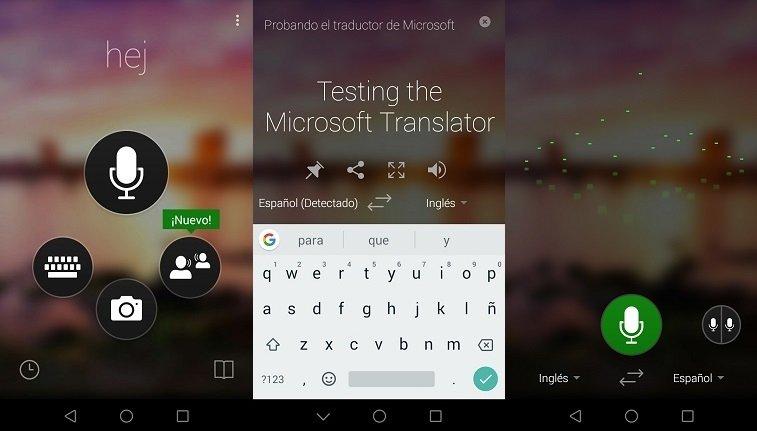 Interfaz de Microsoft Translator para Android