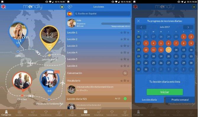 Interfaz de Mondly Languages en Android