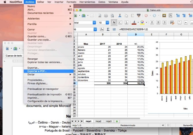 Interfaz de NeoOffice Calc y Writer, las alternativas a Excel y Word