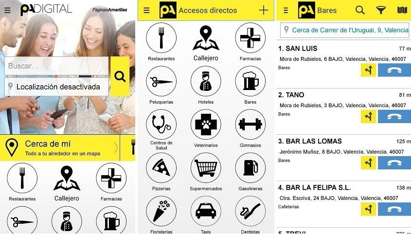 Interfaz de Páginas Amarillas para Android