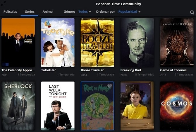 Interfaz de Popcorn Time en pleno funcionamiento