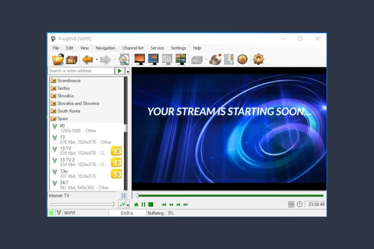 Interfaz de ProgDVB una vez abierto