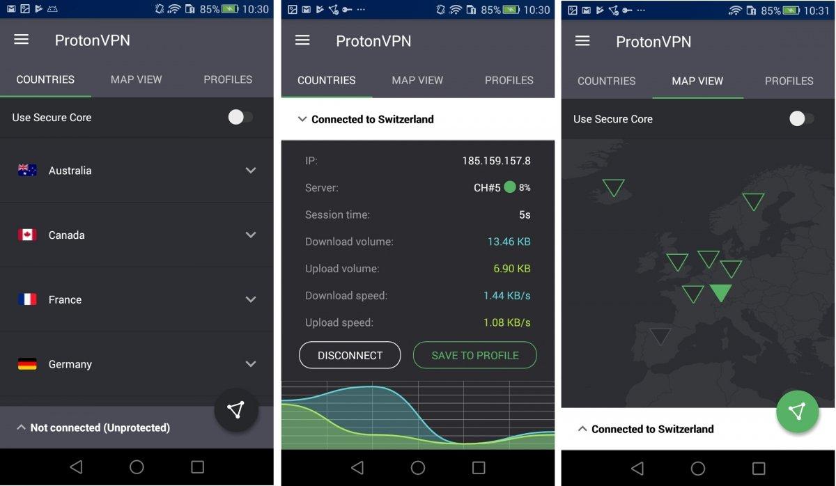 Interfaz de ProtonVPN para Android